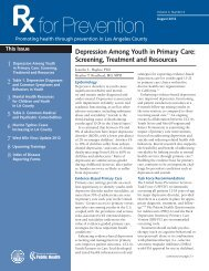 Depression Among Youth in Primary Care - Department of Public ...