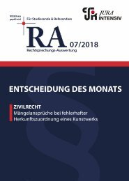 RA 07/2018 - Entscheidung des Monats