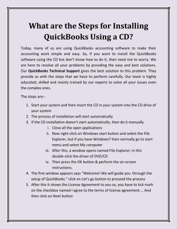 What are the Steps for Installing QuickBooks using a CD?