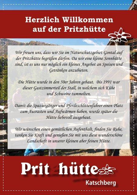 Speisekarte Pritzhütte Sommer 2018