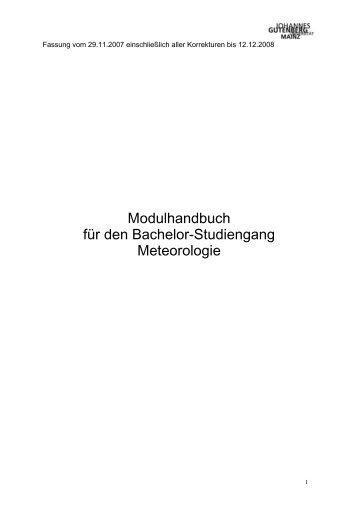Modulhandbuch Bachelor of Science Meteorologie - im Fachbereich ...