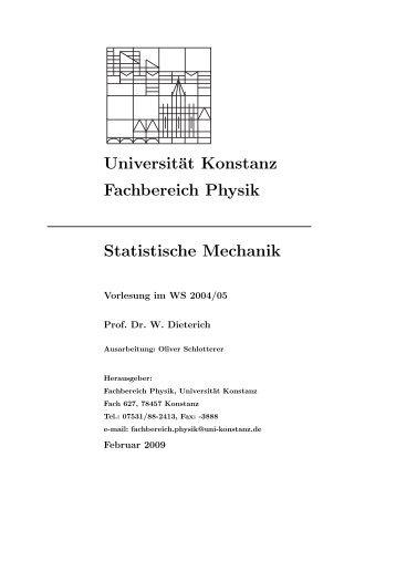 Statistische Mechanik - Theoretical Physics at University of Konstanz ...
