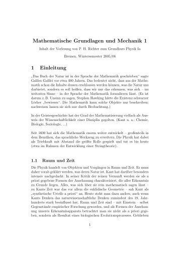 Mathematische Grundlagen und Mechanik 1 1 Einleitung - BOPS