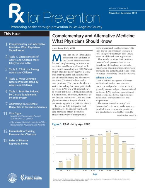 Complementary and Alternative Medicine - Department of Public ...