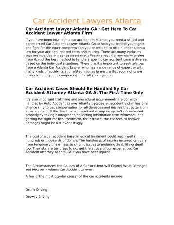 Car Accident Lawyers Atlanta