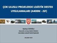 uluslu projelerde lojistik destek - Savunma Sanayii Müsteşarlığı