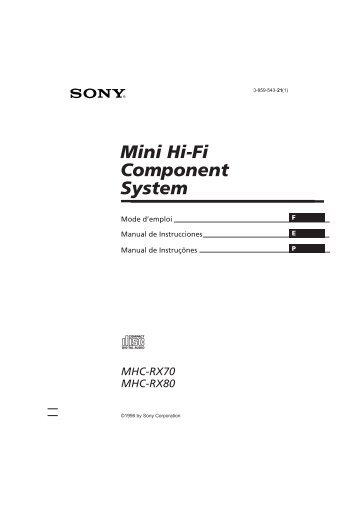 Sony MHC-RX80 - MHC-RX80 Consignes d'utilisation Français