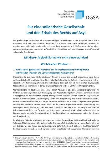 Positionspapier der DGSA zur Asylpolitik