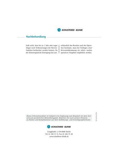 Nervus ulnaris Syndrom - Schulthess Klinik