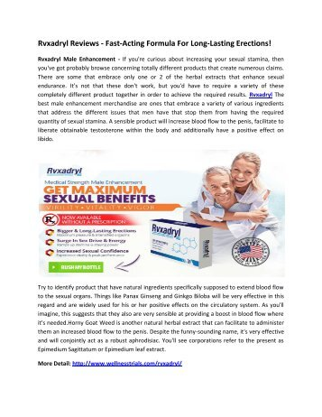 Rvxadryl Male Enhancement - Improve Your Energy & Stamina Easily!