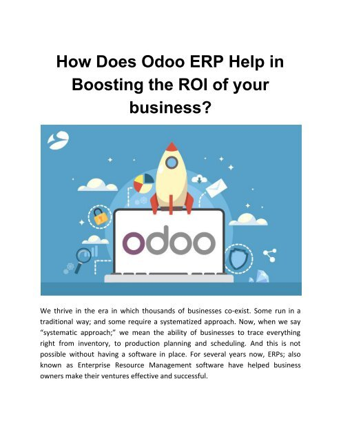 How Does Odoo ERP Help in Boosting the ROI of your business?