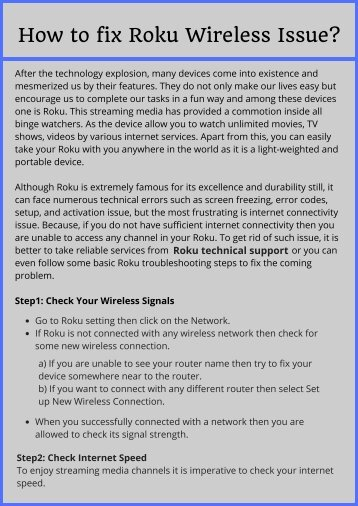 Solve Roku Wireless Issues