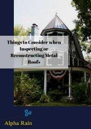 Things to Consider when Inspecting or Reconstructing Metal Roofs