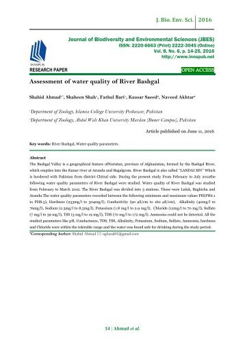 Assessment of water quality of River Bashgal