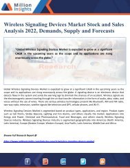 Wireless Signaling Devices Market Stock and Sales Analysis 2022, Demands, Supply and Forecasts