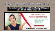 Steps to fix Trend Micro Error 1603 Call 1-800-658-7602