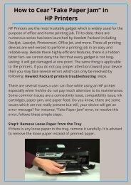"Fix ""Fake Paper Jam"" Issues of HP Printer"
