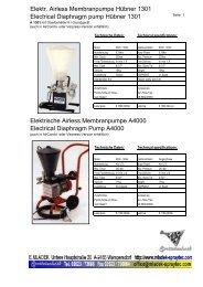 Elektr. Airless Membranpumpe Hübner 1301 Electrical ... - Allforyou