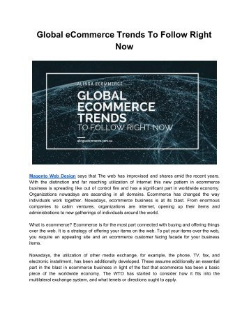 Global eCommerce Trends To Follow Right Now