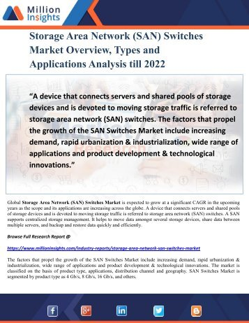 Storage Area Network (SAN) Switches Market Overview, Types and Applications Analysis till 2022