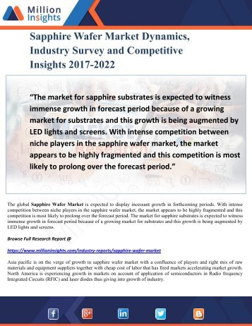 Sapphire Wafer Market Dynamics, Industry Survey and Competitive Insights 2017-2022