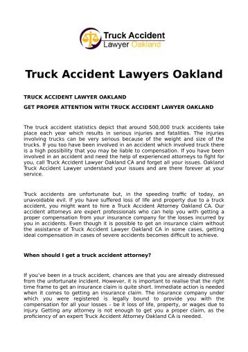 Truck Accident Lawyers Oakland