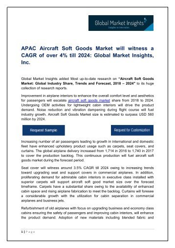 Aircraft Soft Goods Market By Application, Growth Potential & Forecast, 2018 – 2024
