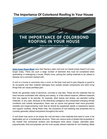 Colorbond Roofing Essential For Every House