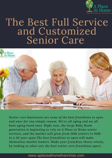 Find the Best Full Service and Customized Senior Care | A Place At Home