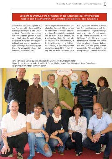 Physiotherapeuten arbeiten enger zusammen - 18. Wicker-Magazin