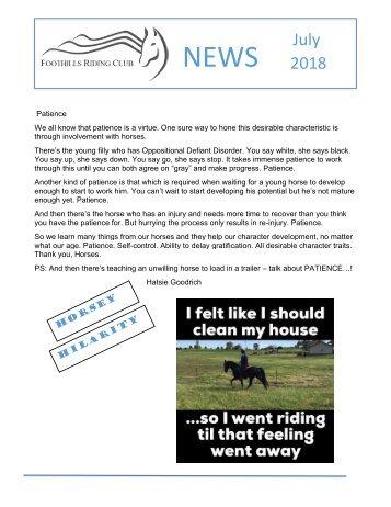 July 2018 FRC Member Newsletter