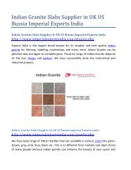 Indian Granite Slabs Supplier in UK US Russia Imperial Exports India