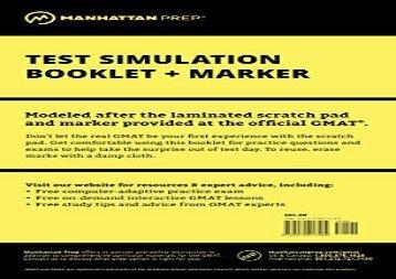 [+][PDF] TOP TREND Manhattan GMAT Test Simulation (Manhattan Prep GMAT Strategy Guides)  [FULL]