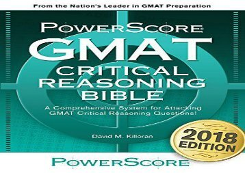 [+]The best book of the month GMAT Critical Reasoning Bible: A Comprehensive Guide for Attacking the GMAT Critical Reasoning Questions  [FULL]
