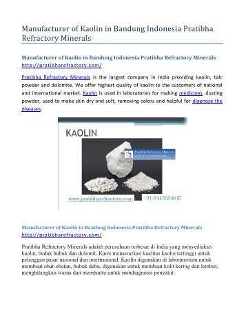 Manufacturer of Kaolin in Bandung Indonesia Pratibha Refractory Minerals