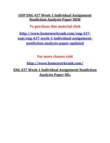 UOP ENG 437 Week 1 Individual Assignment Nonfiction Analysis Paper NEW