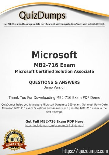 MB2-716 Exam Dumps - Preparation with MB2-716 Dumps PDF [2018]
