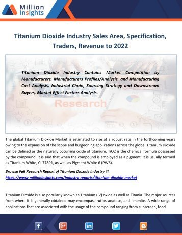 Titanium Dioxide Industry Sales Area, Specification, Traders, Revenue to 2022