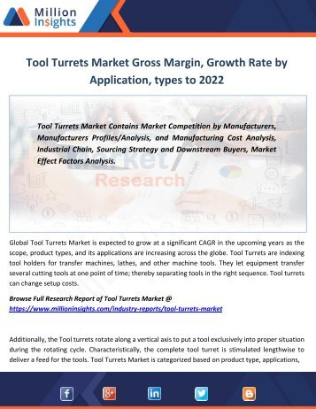 Tool Turrets Market Gross Margin, Growth Rate by Application, types to 2022
