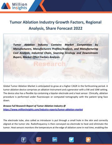 Tumor Ablation Industry Growth Factors, Regional Analysis, Share Forecast 2022