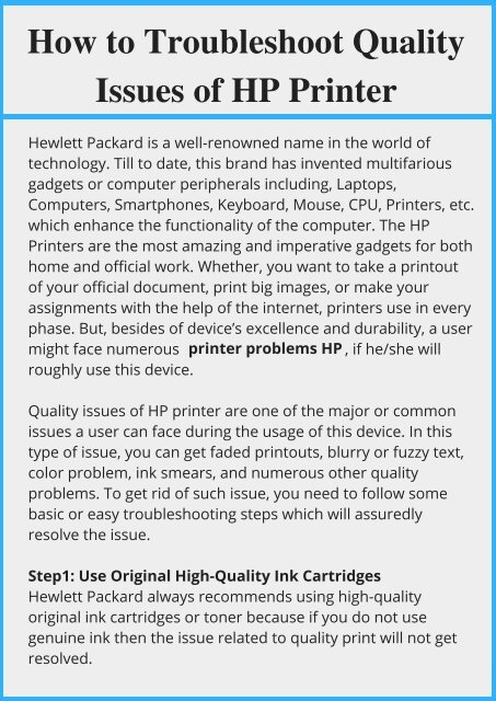 Fix Quality Issues of HP Printer
