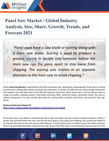 Panel Saw Market Segmented by Material, Type, Application, and Geography - Growth, Trends and Forecast 2021