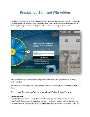 Prestashop Spin and Win Email subscription popup by Knowband
