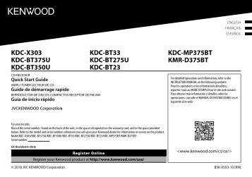 Kenwood KDC-BT33 - Car Electronics English,French,Spanish (Quick Start Guide) America (2018)