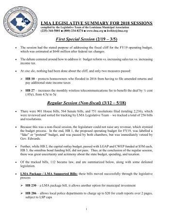 2018 Full Legislative Update