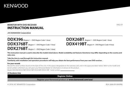 Kenwood DDX26BT - Car Electronics English Instruction Manual