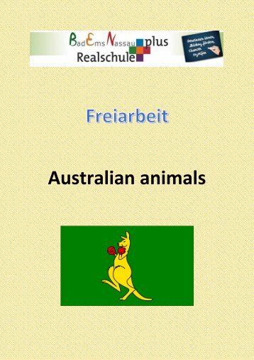 Freiarbeit  Animals in Australia ZARB