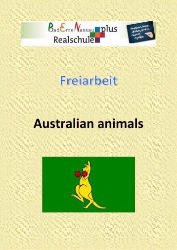 Freiarbeit  Animals in Australia ZARB