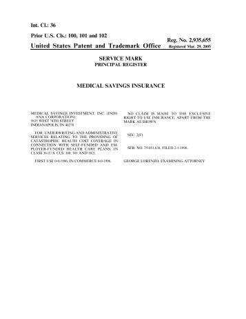 United States Patent and Trademark Office Registered Mar. 29, 2005