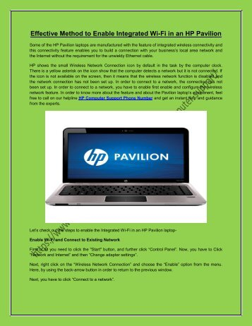 Effective Method to Enable Integrated Wi-Fi in an HP Pavilion